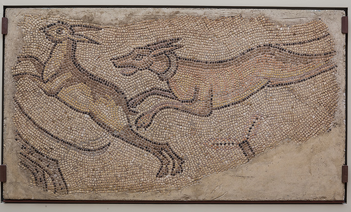 Mosaic of Dog Chasing a Rabbit